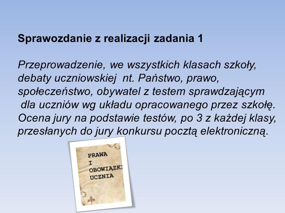 Sprawozdanie z realizacji zadania 1 Przeprowadzenie, we wszystkich klasach szkoły, debaty uczniowskiej nt.