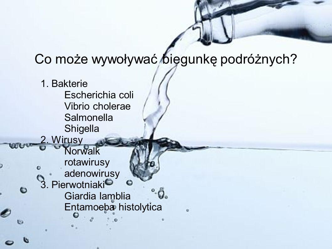 Co może wywoływać biegunkę podróżnych? 1. Bakterie Escherichia coli Vibrio cholerae Salmonella Shigella 2. Wirusy Norwalk rotawirusy adenowirusy 3. Pi