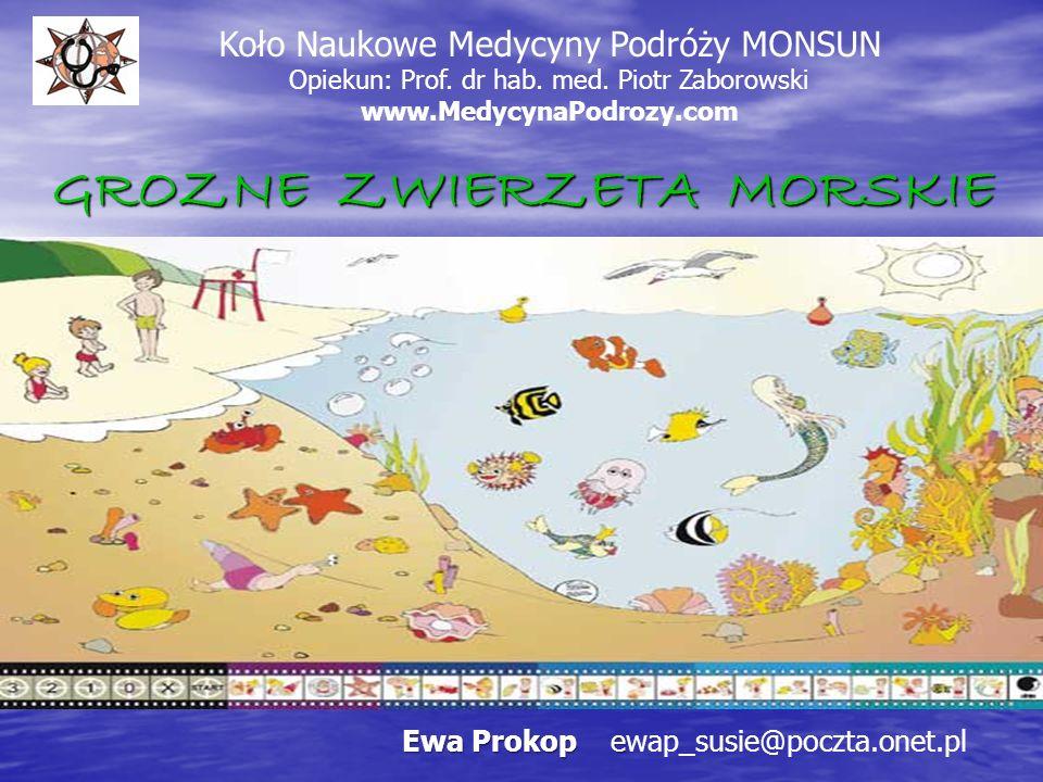 GROZNE ZWIERZETA MORSKIE Koło Naukowe Medycyny Podróży MONSUN Opiekun: Prof. dr hab. med. Piotr Zaborowski www.MedycynaPodrozy.com Ewa Prokop e Ewa Pr
