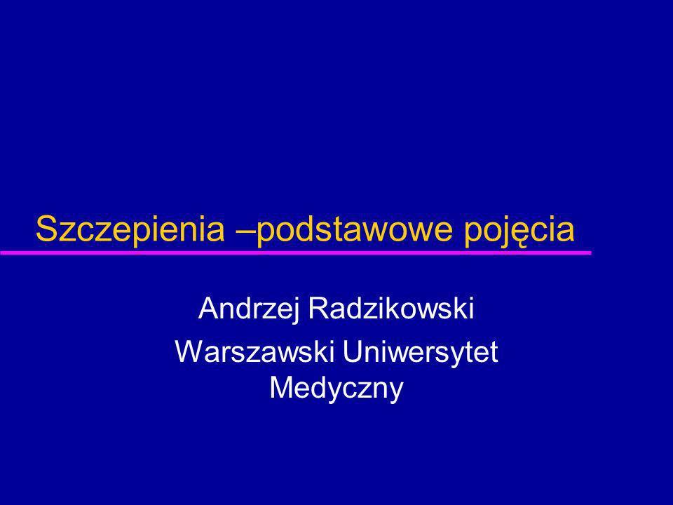 Szczepienia –podstawowe pojęcia Andrzej Radzikowski Warszawski Uniwersytet Medyczny
