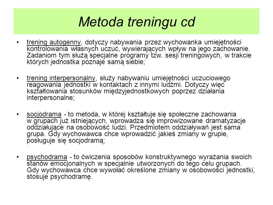 Metoda treningu cd trening autogenny, dotyczy nabywania przez wychowanka umiejętności kontrolowania własnych uczuć, wywierających wpływ na jego zachow
