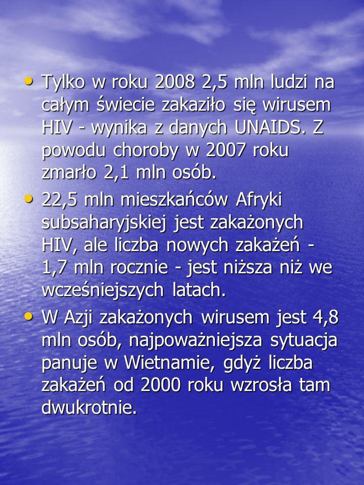 Tylko w roku 2008 2,5 mln ludzi na całym świecie zakaziło się wirusem HIV - wynika z danych UNAIDS. Z powodu choroby w 2007 roku zmarło 2,1 mln osób.