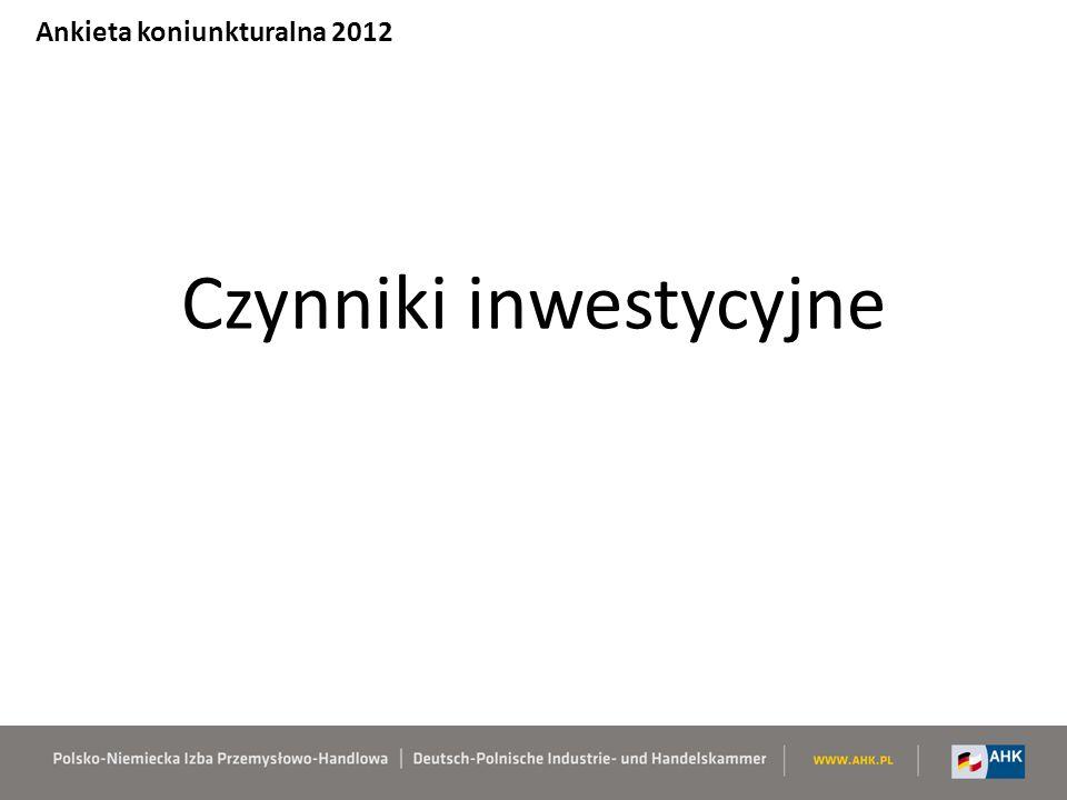 Ocena czynników inwestycyjnych 5 – max … 1 - min Ankieta koniunkturalna 2012