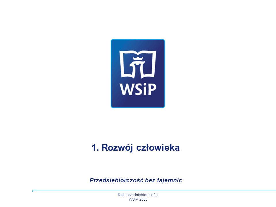 1. Rozwój człowieka Przedsiębiorczość bez tajemnic Klub przedsiębiorczości WSiP 2008