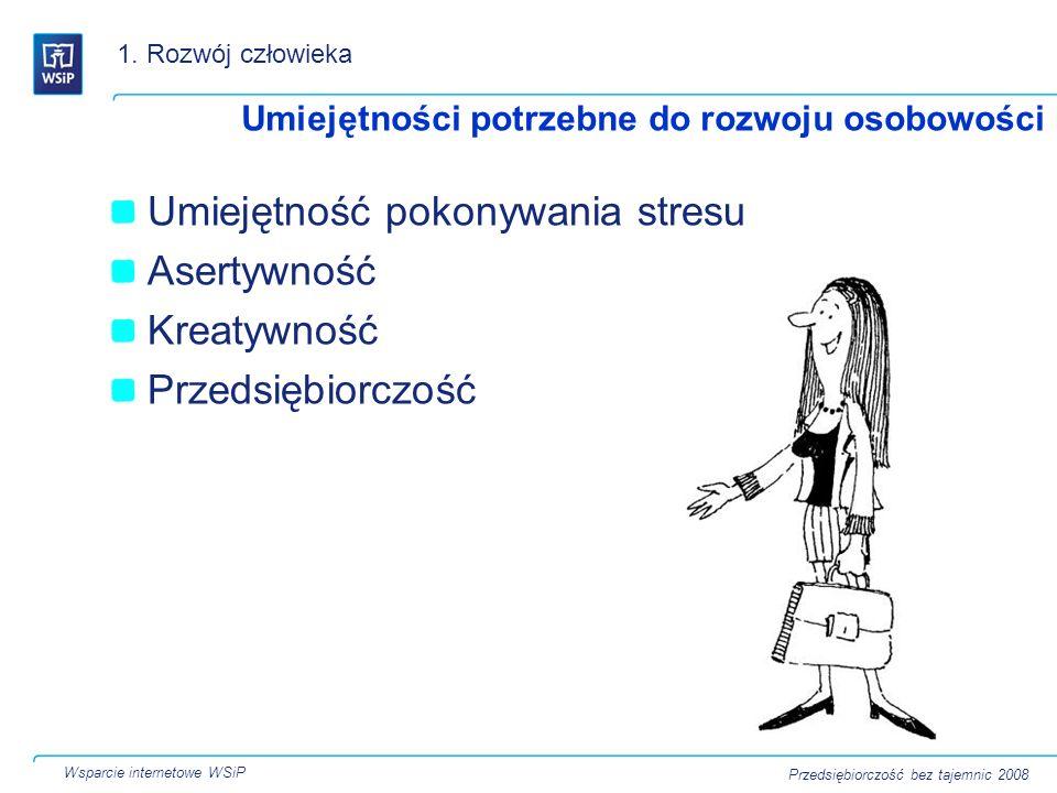 Umiejętność pokonywania stresu Asertywność Kreatywność Przedsiębiorczość Umiejętności potrzebne do rozwoju osobowości 1. Rozwój człowieka Wsparcie int