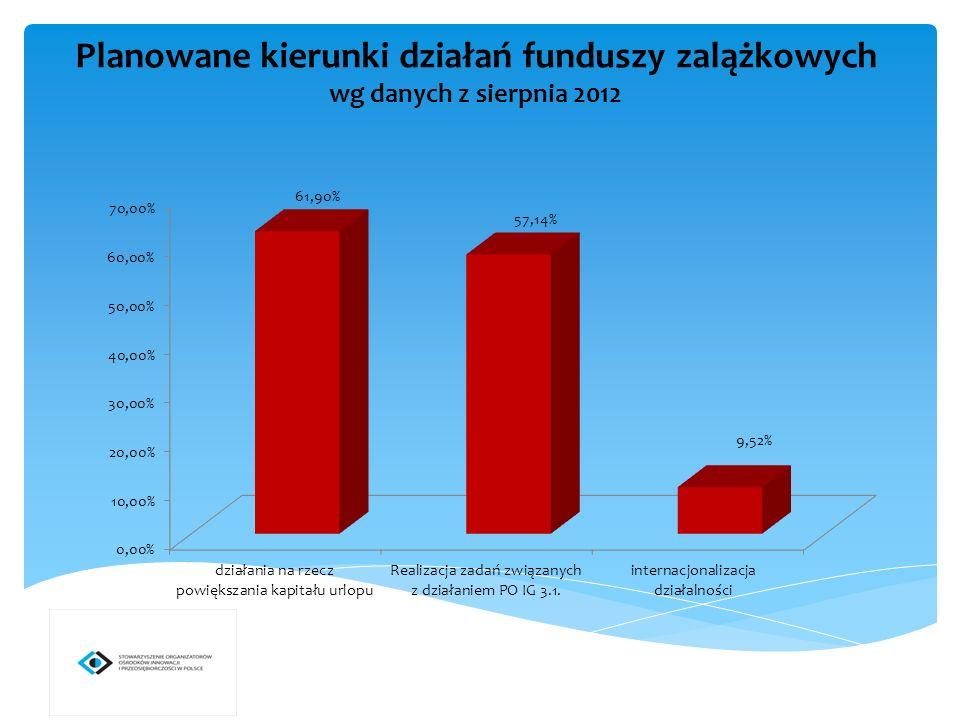 Planowane kierunki działań funduszy zalążkowych wg danych z sierpnia 2012