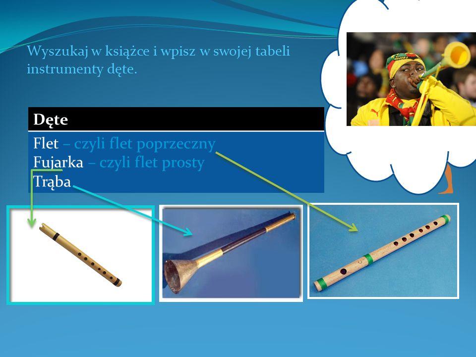 Wyszukaj w książce i wpisz w swojej tabeli instrumenty dęte. Dęte Flet – czyli flet poprzeczny Fujarka – czyli flet prosty Trąba Jaki jest współczesny