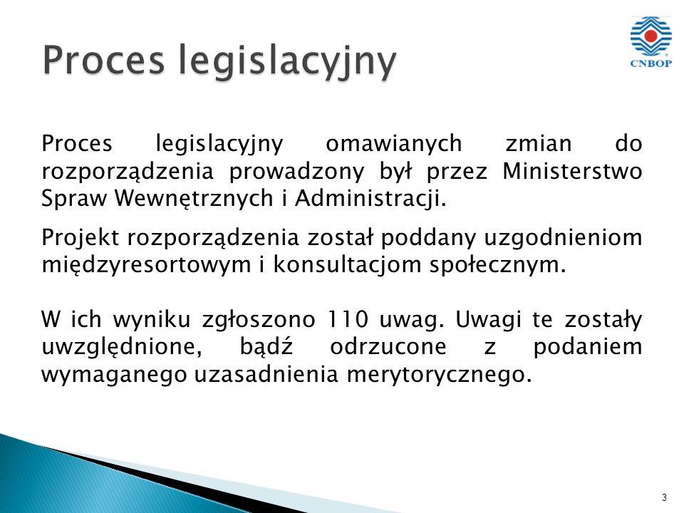 Proces legislacyjny omawianych zmian do rozporządzenia prowadzony był przez Ministerstwo Spraw Wewnętrznych i Administracji.