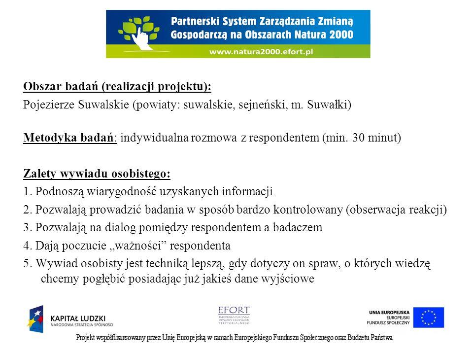 Obszar badań (realizacji projektu): Pojezierze Suwalskie (powiaty: suwalskie, sejneński, m.