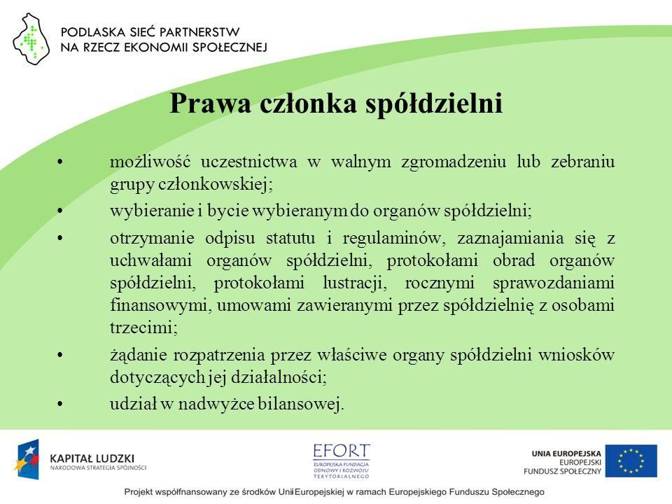 Prawa członka spółdzielni możliwość uczestnictwa w walnym zgromadzeniu lub zebraniu grupy członkowskiej; wybieranie i bycie wybieranym do organów spół