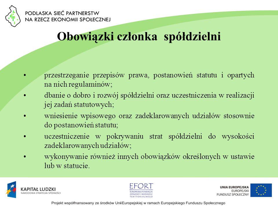 Obowiązki członka spółdzielni przestrzeganie przepisów prawa, postanowień statutu i opartych na nich regulaminów; dbanie o dobro i rozwój spółdzielni
