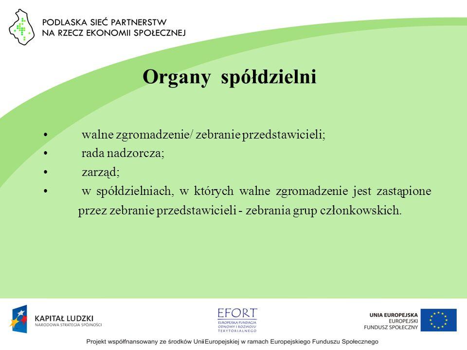 Organy spółdzielni walne zgromadzenie/ zebranie przedstawicieli; rada nadzorcza; zarząd; w spółdzielniach, w których walne zgromadzenie jest zastąpion