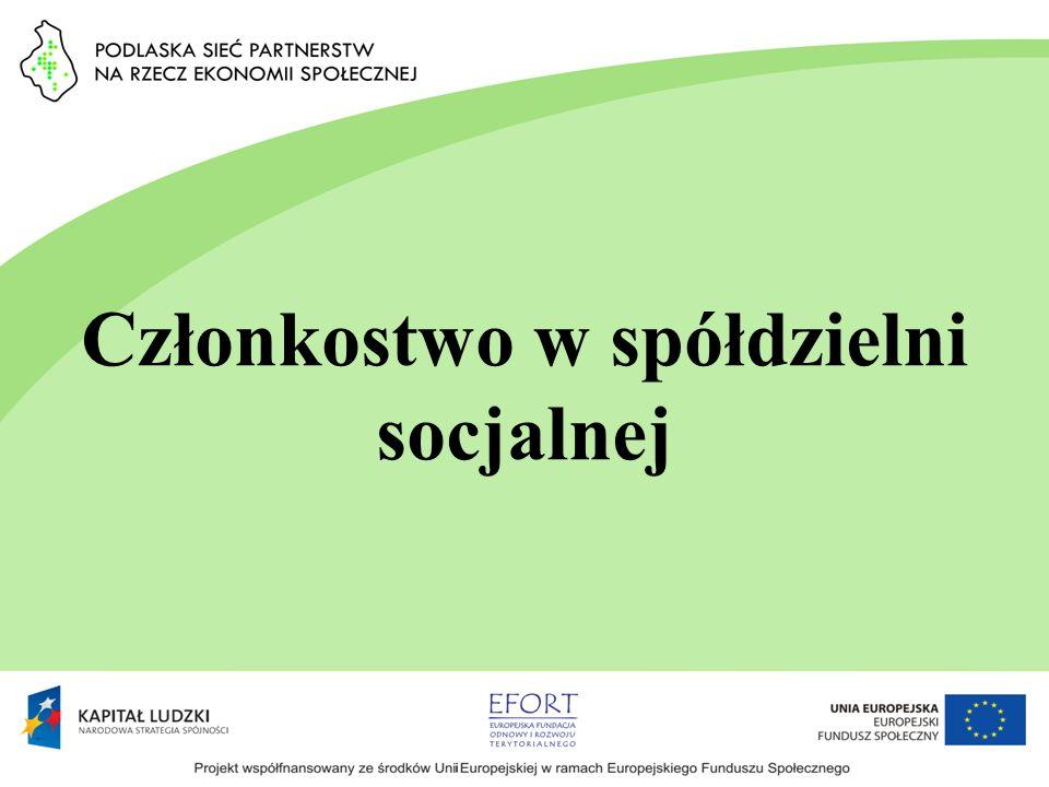 Członkostwo w spółdzielni socjalnej