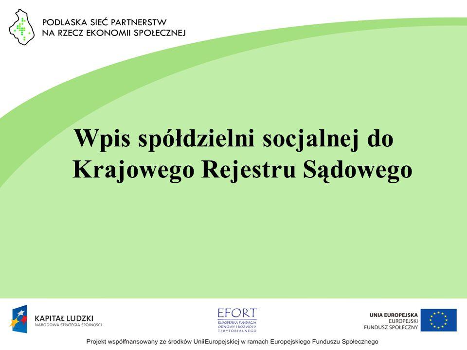 Wpis spółdzielni socjalnej do Krajowego Rejestru Sądowego