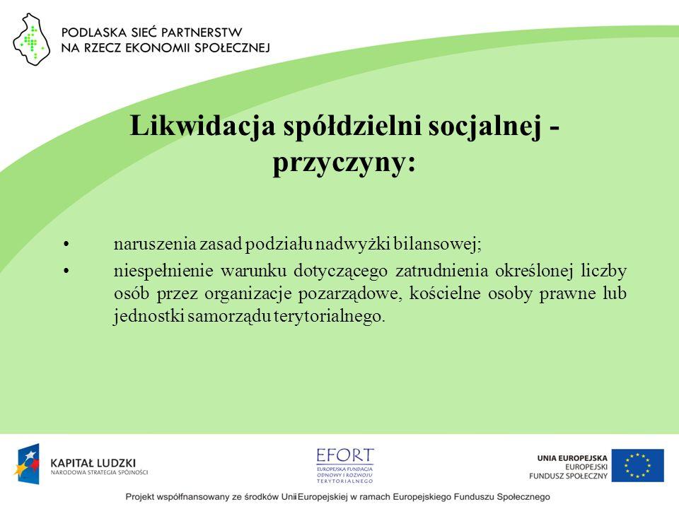 Likwidacja spółdzielni socjalnej - przyczyny: naruszenia zasad podziału nadwyżki bilansowej; niespełnienie warunku dotyczącego zatrudnienia określonej