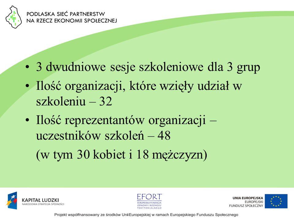 3 dwudniowe sesje szkoleniowe dla 3 grup Ilość organizacji, które wzięły udział w szkoleniu – 32 Ilość reprezentantów organizacji – uczestników szkole