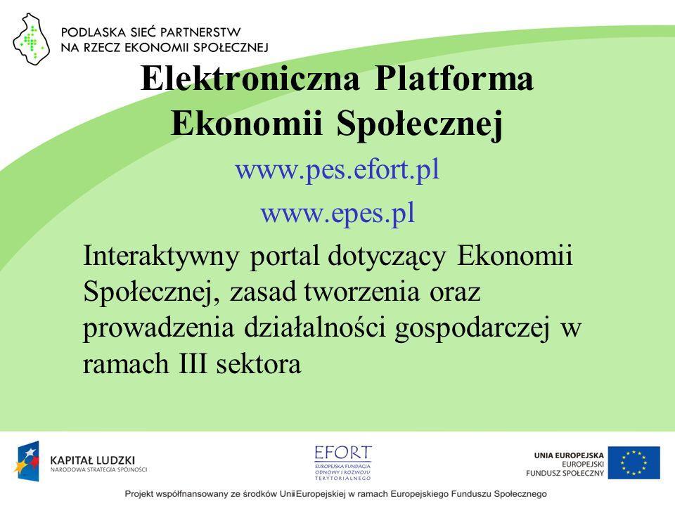Elektroniczna Platforma Ekonomii Społecznej www.pes.efort.pl www.epes.pl Interaktywny portal dotyczący Ekonomii Społecznej, zasad tworzenia oraz prowa
