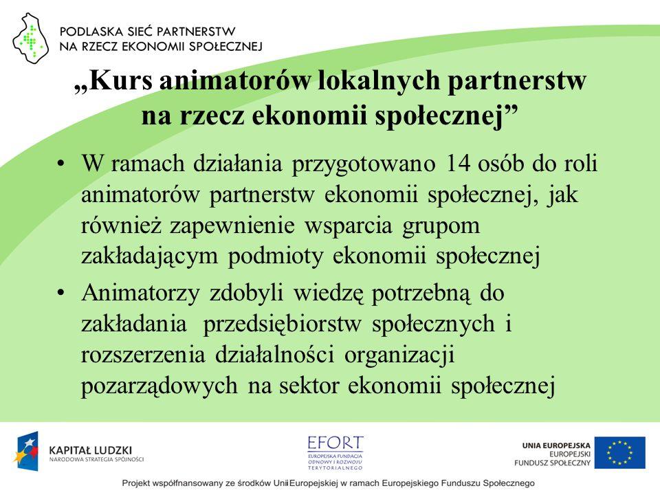 Kurs animatorów lokalnych partnerstw na rzecz ekonomii społecznej W ramach działania przygotowano 14 osób do roli animatorów partnerstw ekonomii społe