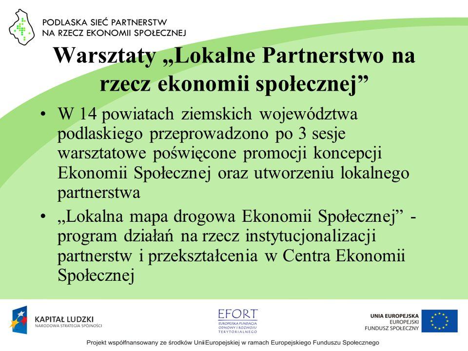 Warsztaty Lokalne Partnerstwo na rzecz ekonomii społecznej W 14 powiatach ziemskich województwa podlaskiego przeprowadzono po 3 sesje warsztatowe pośw