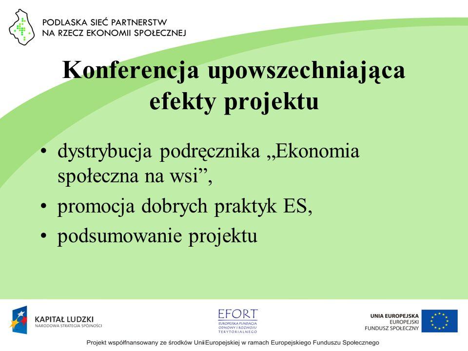 Konferencja upowszechniająca efekty projektu dystrybucja podręcznika Ekonomia społeczna na wsi, promocja dobrych praktyk ES, podsumowanie projektu
