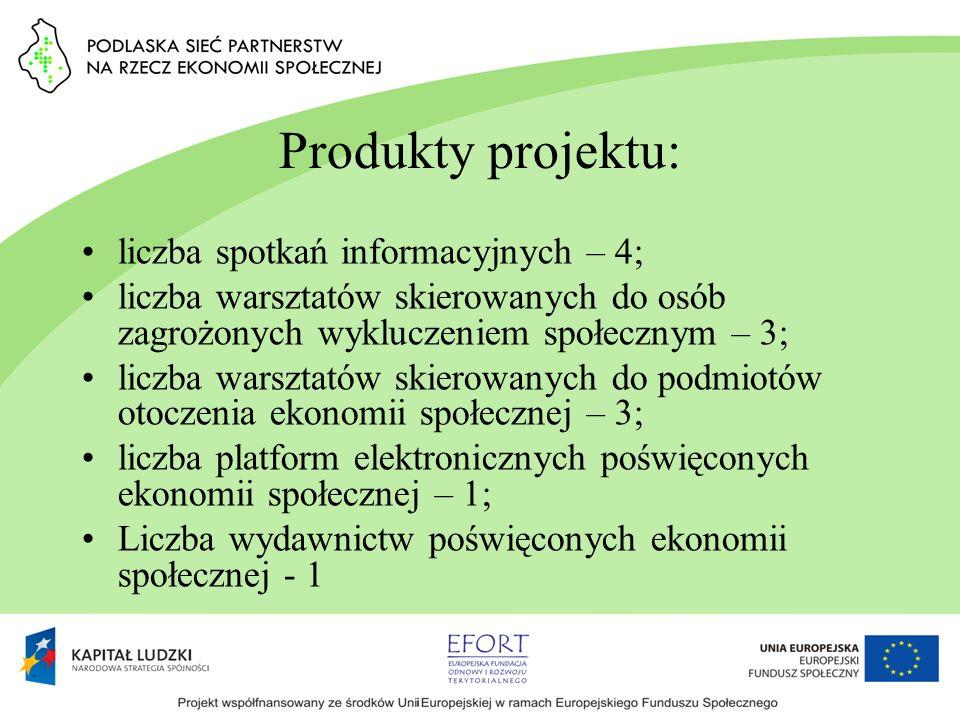 Produkty projektu: liczba spotkań informacyjnych – 4; liczba warsztatów skierowanych do osób zagrożonych wykluczeniem społecznym – 3; liczba warsztató