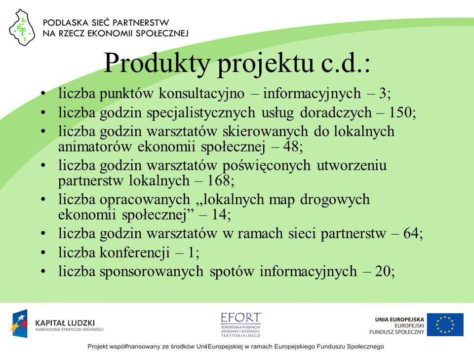 Produkty projektu c.d.: liczba punktów konsultacyjno – informacyjnych – 3; liczba godzin specjalistycznych usług doradczych – 150; liczba godzin warsz