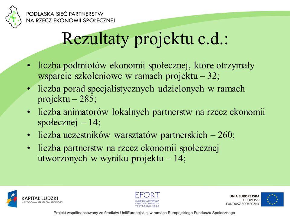 Rezultaty projektu c.d.: liczba podmiotów ekonomii społecznej, które otrzymały wsparcie szkoleniowe w ramach projektu – 32; liczba porad specjalistycz