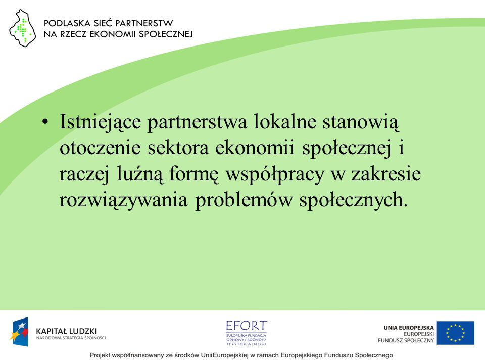 Istniejące partnerstwa lokalne stanowią otoczenie sektora ekonomii społecznej i raczej luźną formę współpracy w zakresie rozwiązywania problemów społe