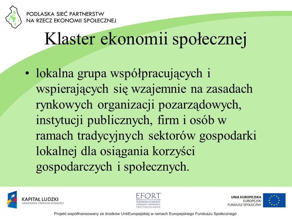 Klaster ekonomii społecznej lokalna grupa współpracujących i wspierających się wzajemnie na zasadach rynkowych organizacji pozarządowych, instytucji p