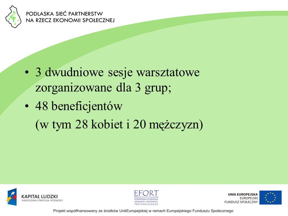 3 dwudniowe sesje warsztatowe zorganizowane dla 3 grup; 48 beneficjentów (w tym 28 kobiet i 20 mężczyzn)