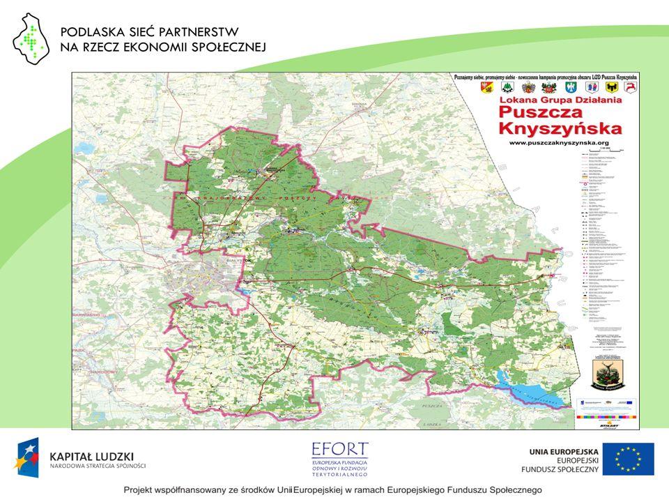 LGD Puszcza Knyszyńska 7 gmin, wschodnia część Powiatu Białostockiego Ok.