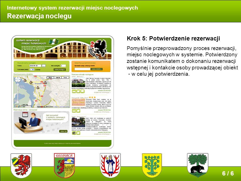 Rezerwacja noclegu Internetowy system rezerwacji miejsc noclegowych Krok 5: Potwierdzenie rezerwacji Pomyślnie przeprowadzony proces rezerwacji, miejsc noclegowych w systemie.