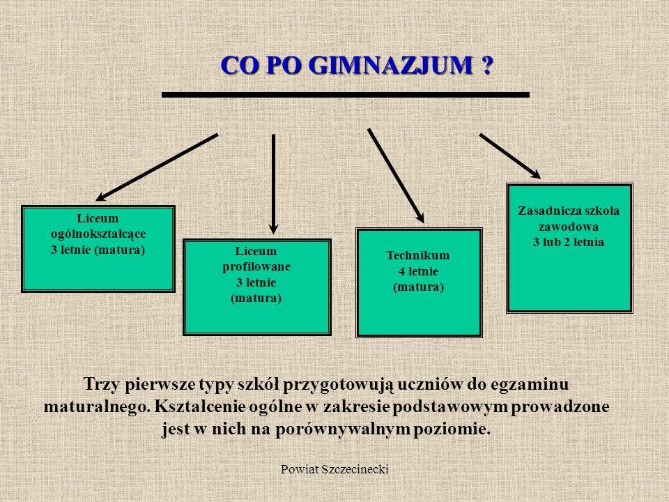 Powiat Szczecinecki Różnorodna oferta kształcenia prezentuje młodzieży wiele możliwości wyboru dalszej edukacji, gwarantując każdemu kontynuację dalsz