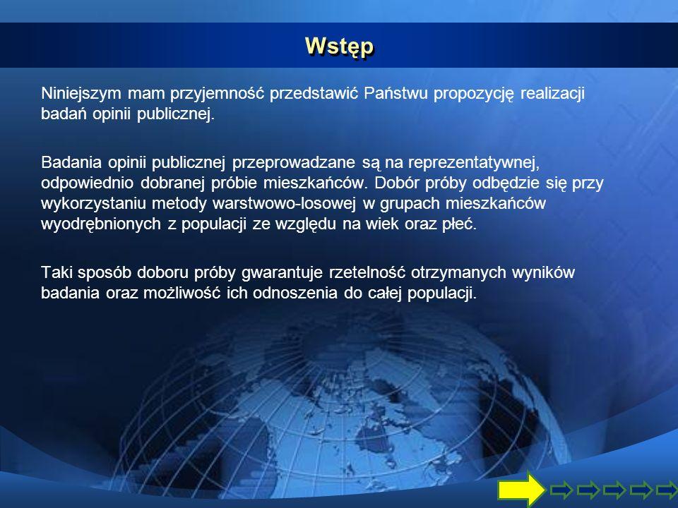 Wstęp Niniejszym mam przyjemność przedstawić Państwu propozycję realizacji badań opinii publicznej.