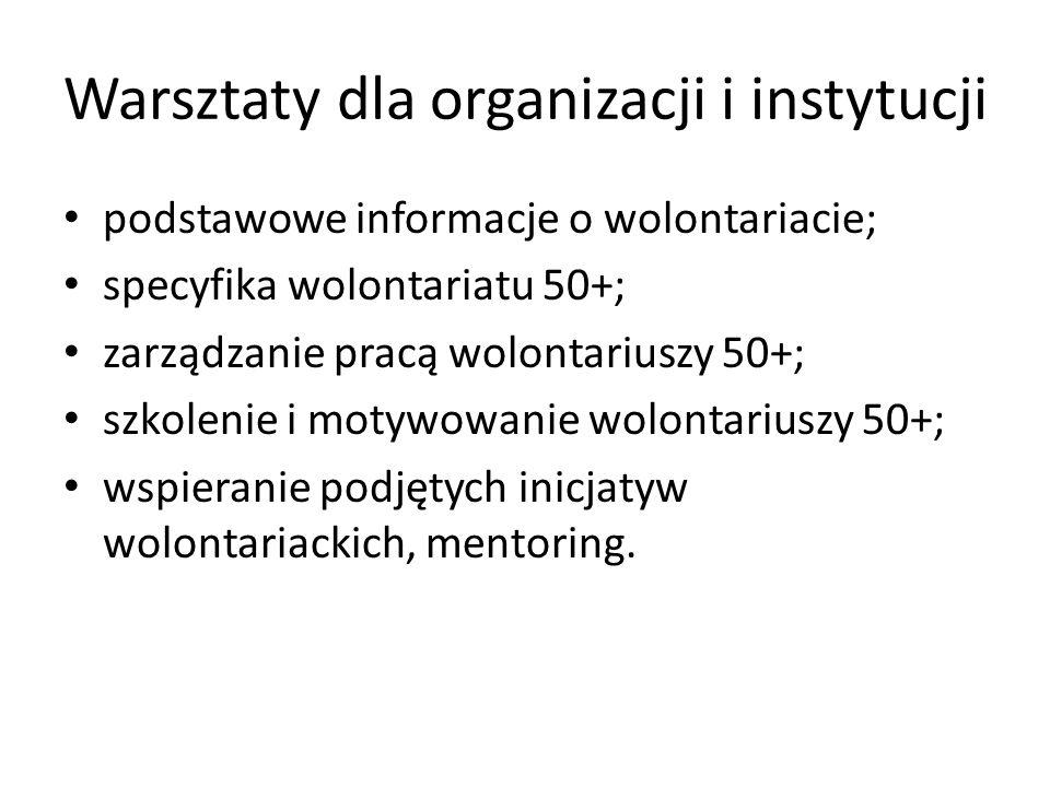 Szkolenia dla osób 50+ oraz organizacji i instytucji