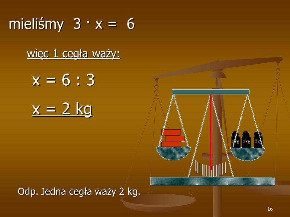 16 więc 1 cegła waży: x = 6 : 3 x = 6 : 3 x = 2 kg x = 2 kg Odp.