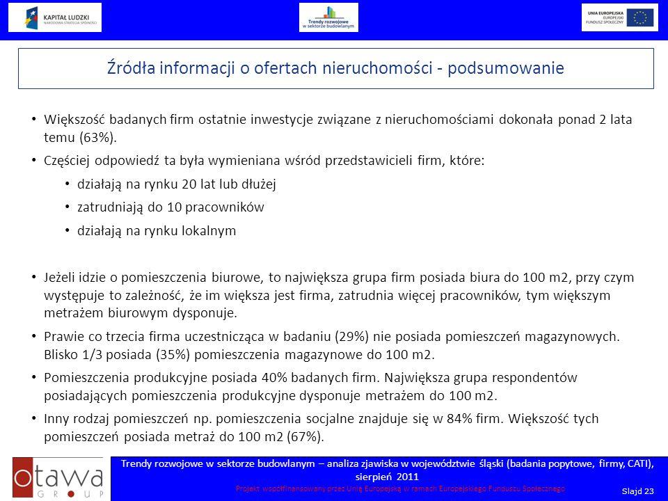 Slajd 23 Trendy rozwojowe w sektorze budowlanym – analiza zjawiska w województwie śląski (badania popytowe, firmy, CATI), sierpień 2011 Projekt współf