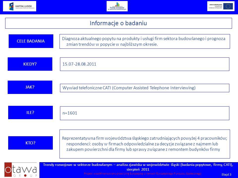 Slajd 3 Trendy rozwojowe w sektorze budowlanym – analiza zjawiska w województwie śląski (badania popytowe, firmy, CATI), sierpień 2011 Projekt współfi
