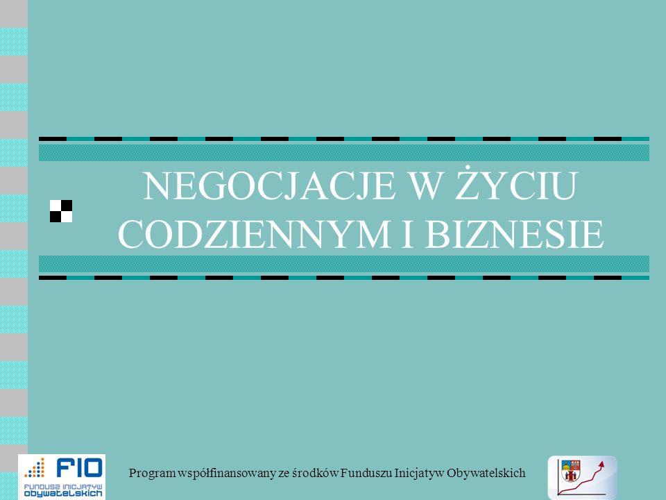 NEGOCJACJE W ŻYCIU CODZIENNYM I BIZNESIE Program współfinansowany ze środków Funduszu Inicjatyw Obywatelskich