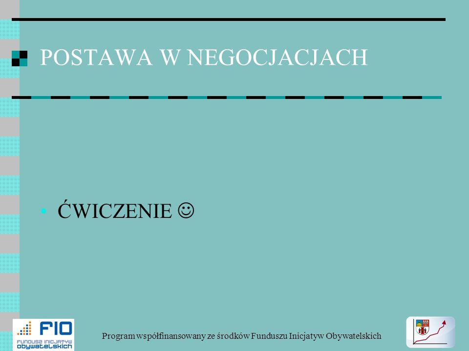 POSTAWA W NEGOCJACJACH ĆWICZENIE Program współfinansowany ze środków Funduszu Inicjatyw Obywatelskich