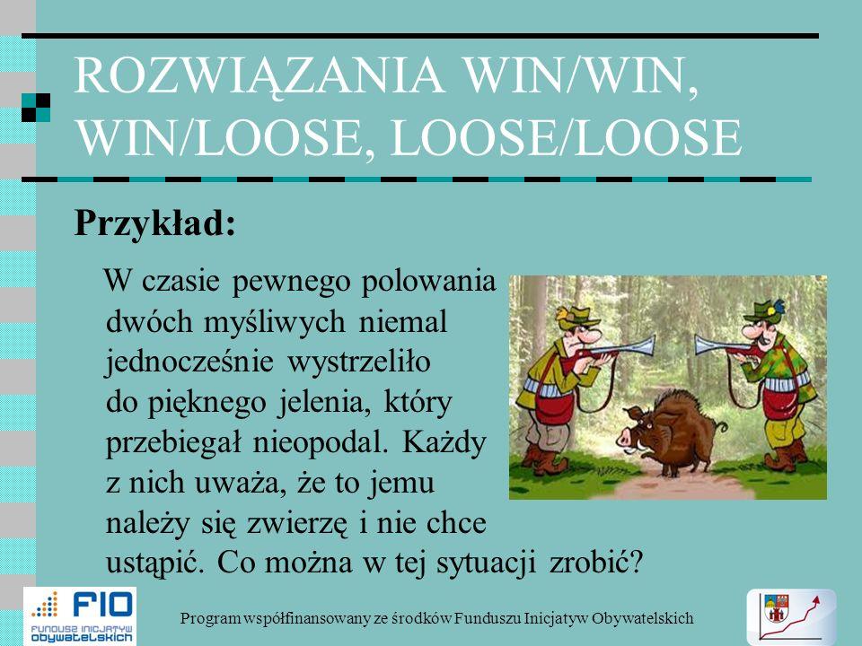 ROZWIĄZANIA WIN/WIN, WIN/LOOSE, LOOSE/LOOSE Przykład: W czasie pewnego polowania dwóch myśliwych niemal jednocześnie wystrzeliło do pięknego jelenia,