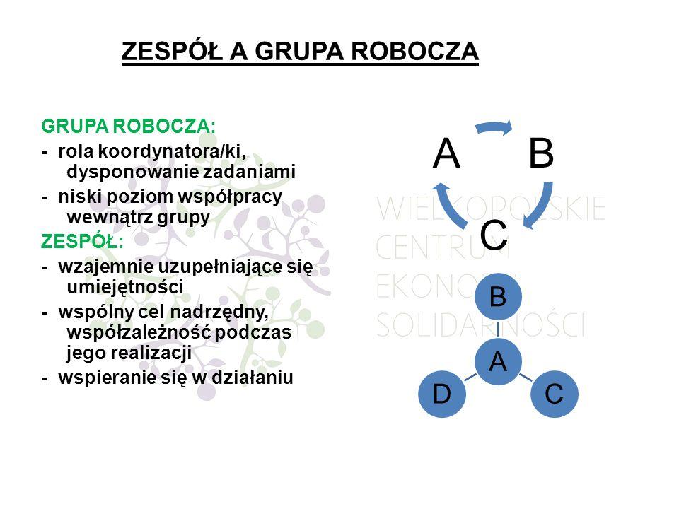 ZESPÓŁ A GRUPA ROBOCZA GRUPA ROBOCZA: - rola koordynatora/ki, dysponowanie zadaniami - niski poziom współpracy wewnątrz grupy ZESPÓŁ: - wzajemnie uzup