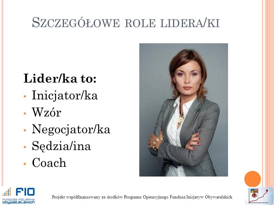 S ZCZEGÓŁOWE ROLE LIDERA / KI Lider/ka to: Inicjator/ka Wzór Negocjator/ka Sędzia/ina Coach Projekt współfinansowany ze środków Programu Operacyjnego Fundusz Inicjatyw Obywatelskich