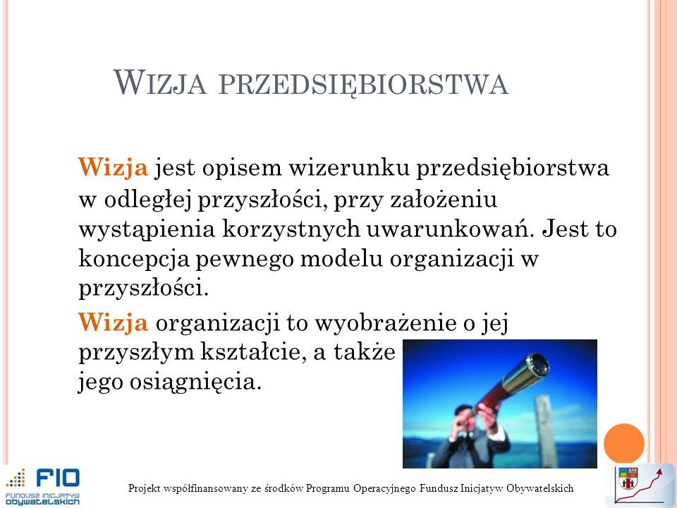 W IZJA PRZEDSIĘBIORSTWA Wizja jest opisem wizerunku przedsiębiorstwa w odległej przyszłości, przy założeniu wystąpienia korzystnych uwarunkowań.