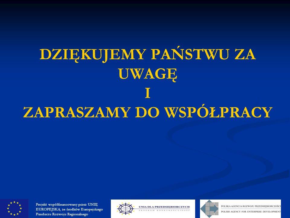 DZIĘKUJEMY PAŃSTWU ZA UWAGĘ I ZAPRASZAMY DO WSPÓŁPRACY Projekt współfinansowany przez UNIĘ EUROPEJSKĄ ze środków Europejskiego Funduszu Rozwoju Regionalnego