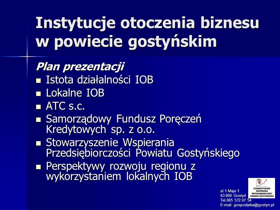 Instytucje otoczenia biznesu w powiecie gostyńskim Plan prezentacji Istota działalności IOB Istota działalności IOB Lokalne IOB Lokalne IOB ATC s.c.