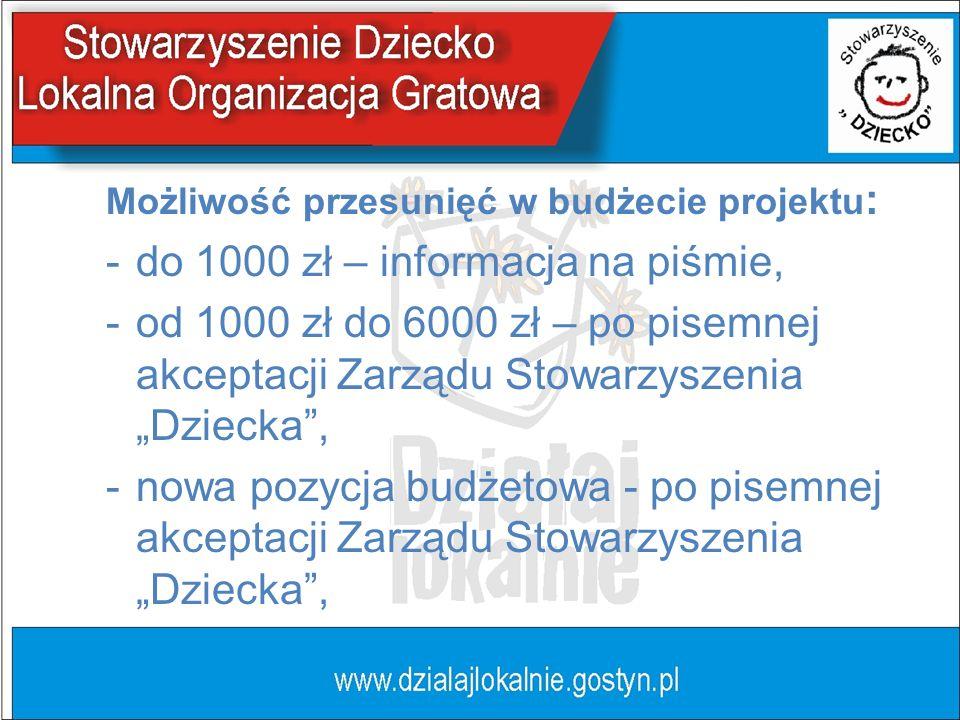 Możliwość przesunięć w budżecie projektu : -do 1000 zł – informacja na piśmie, -od 1000 zł do 6000 zł – po pisemnej akceptacji Zarządu Stowarzyszenia