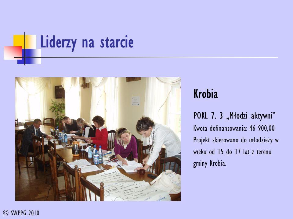 Liderzy na starcie Krobia POKL 7. 3 Młodzi aktywni Kwota dofinansowania: 46 900,00 Projekt skierowano do młodzieży w wieku od 15 do 17 lat z terenu gm