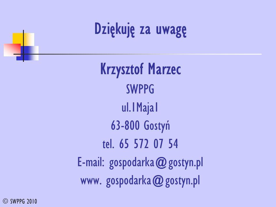 Dziękuję za uwagę Krzysztof Marzec SWPPG ul.1Maja1 63-800 Gostyń tel.