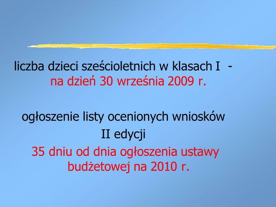 liczba dzieci sześcioletnich w klasach I - na dzień 30 września 2009 r.
